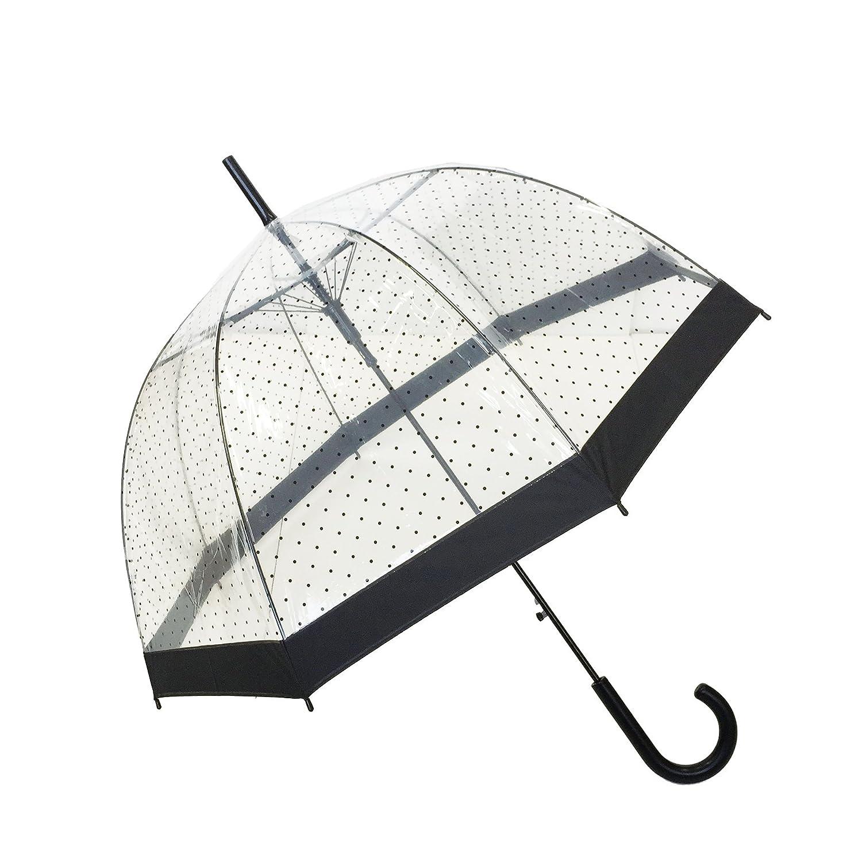 Paraguas largo con lunares y forma de campana. Apertura automática y opción de otros diseños.