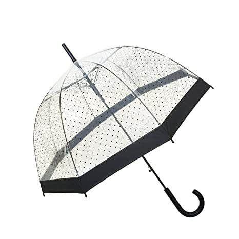 SMATI Stick Birdcage Clear Umbrella Dome Transparent - Automatic Open (Lady Woman)