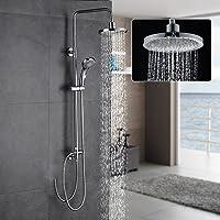 Auralum Système de Douche Mural Douchettes Colonne de Douche pour Salle de Bain Design Élégant Laiton Chromé Solide (sans robinetterie)