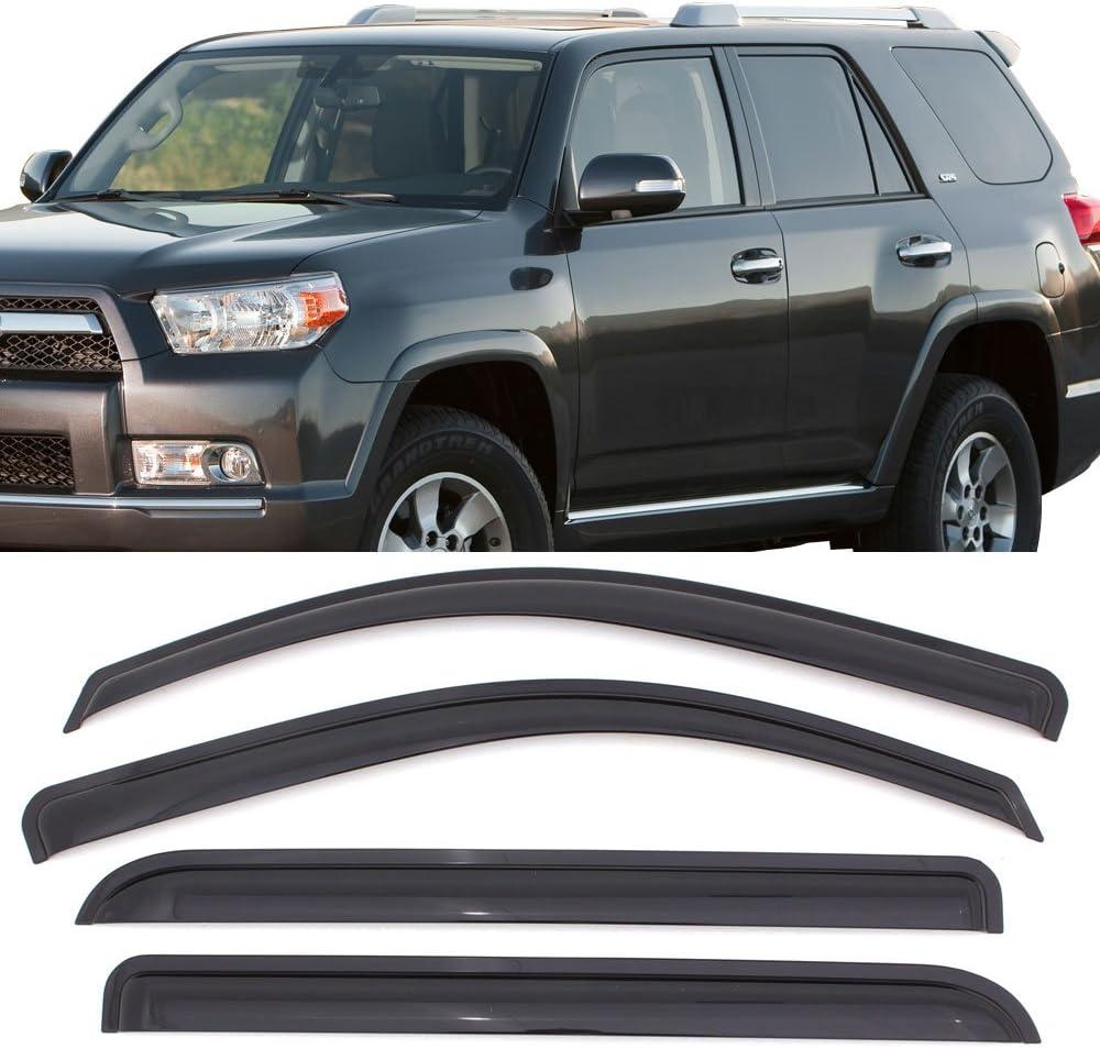 For Toyota 4Runner 2010-2016 Outside-Mounted Dark Smoke JDM Window Visors 4pcs