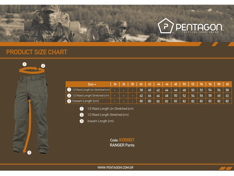 Αποτέλεσμα εικόνας για ranger pentagon size chart