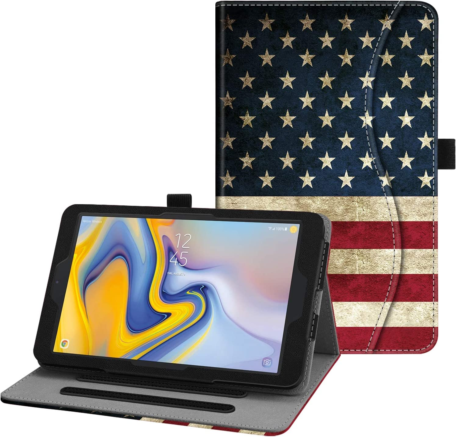 Fintie Case for Samsung Galaxy Tab A 8.0 2018 Model SM-T387 Verizon/Sprint/T-Mobile/AT&T, Multi-Angle Viewing Stand Cover with Packet, US Flag