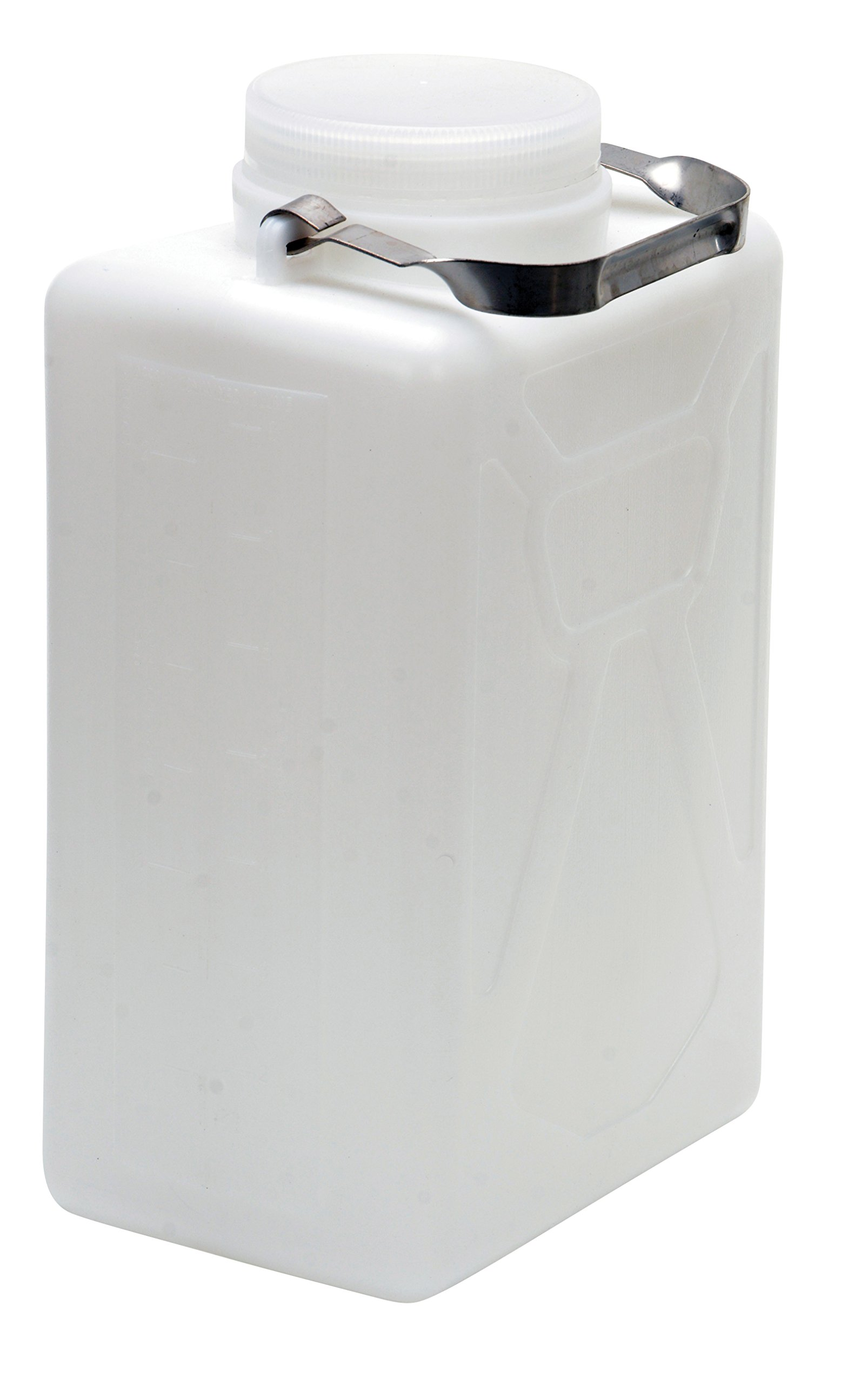 Vestil CARB-2-SSH Wide Mouth High Density Polyethylene (HDPE) Rectangular Carboy with Stainless Steel Handle, 2 Gallon Capacity, Natural