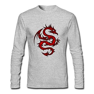 1eca8aa05 Hillet Men's Crimson Tribal Dragon Long Sleeves Cotton Graphic T-Shirt Size  S Gray