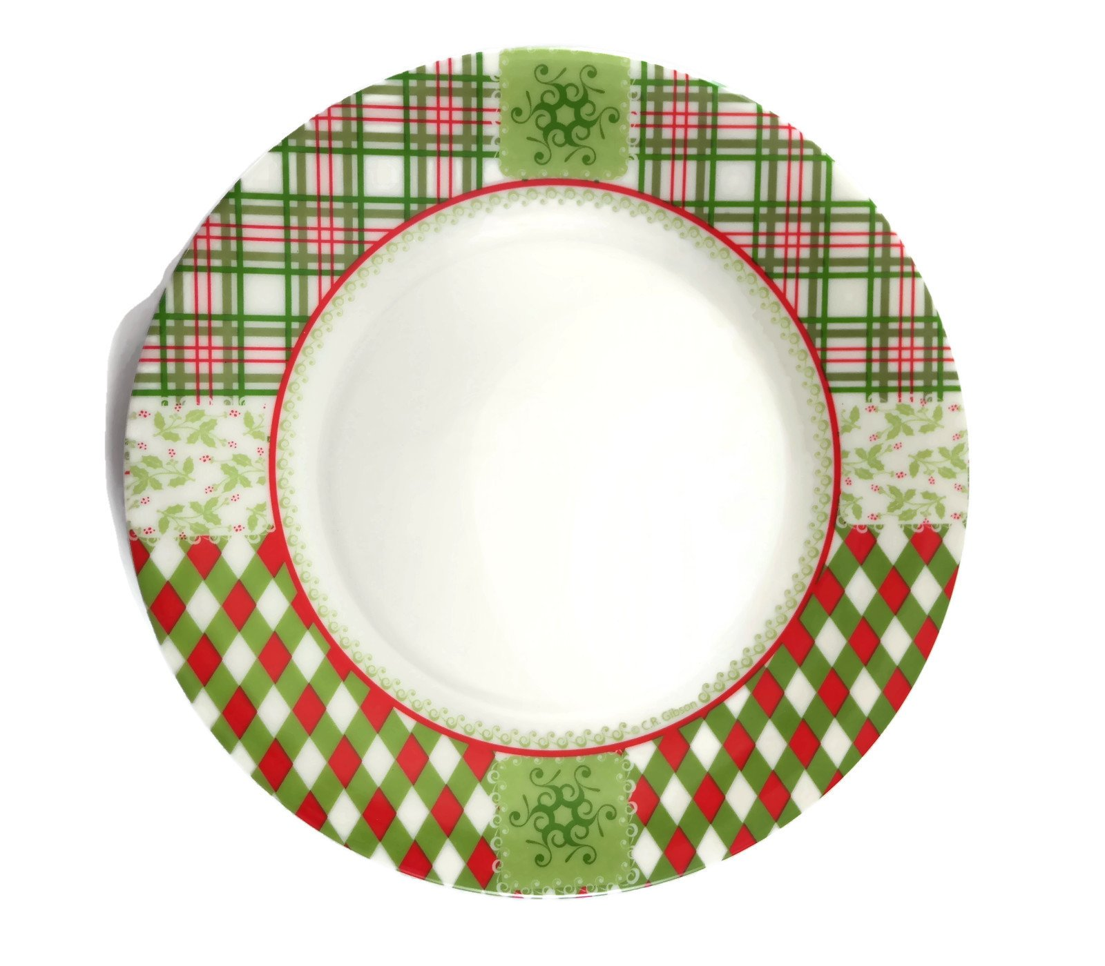 C.R. Gibson Green and Red Plaid Classic Christmas Dessert Plates, Set of 6