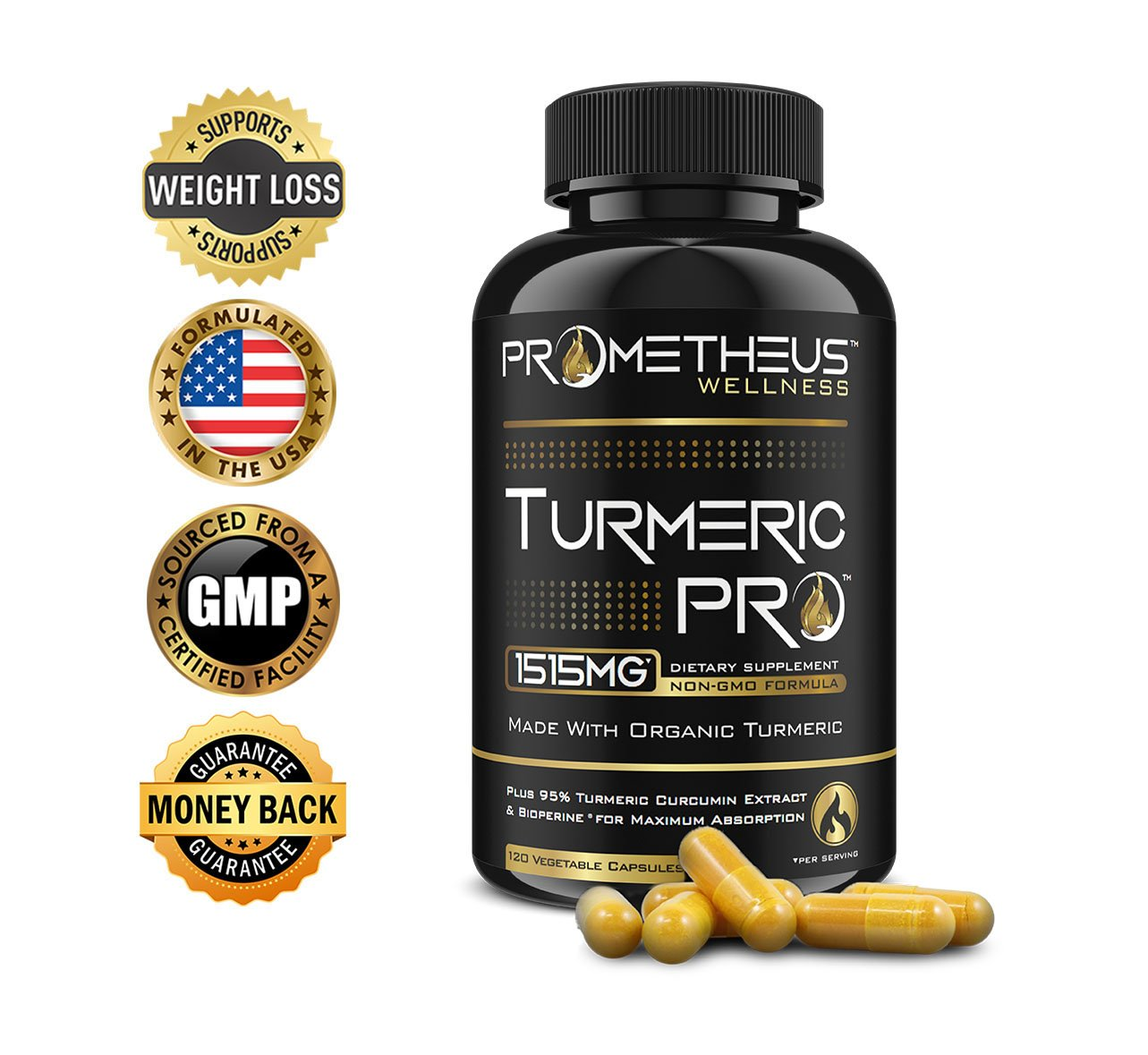 Prometheus Wellness Organic Turmeric PRO 95% Curcuminoids 120 Count Veggie Capsules with BioPerine for Best Absorption, Pure Vegan Curcumin Joint Pain Relief Anti-Inflammatory Antioxidant Anti-Aging
