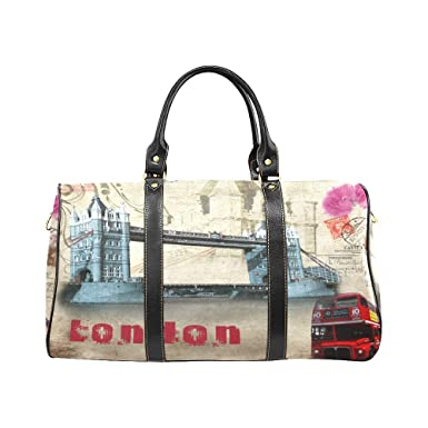 Vintage London Bus Large Travel Duffel Bag Waterproof Weekend Bag with Strap 9c24cd3ee