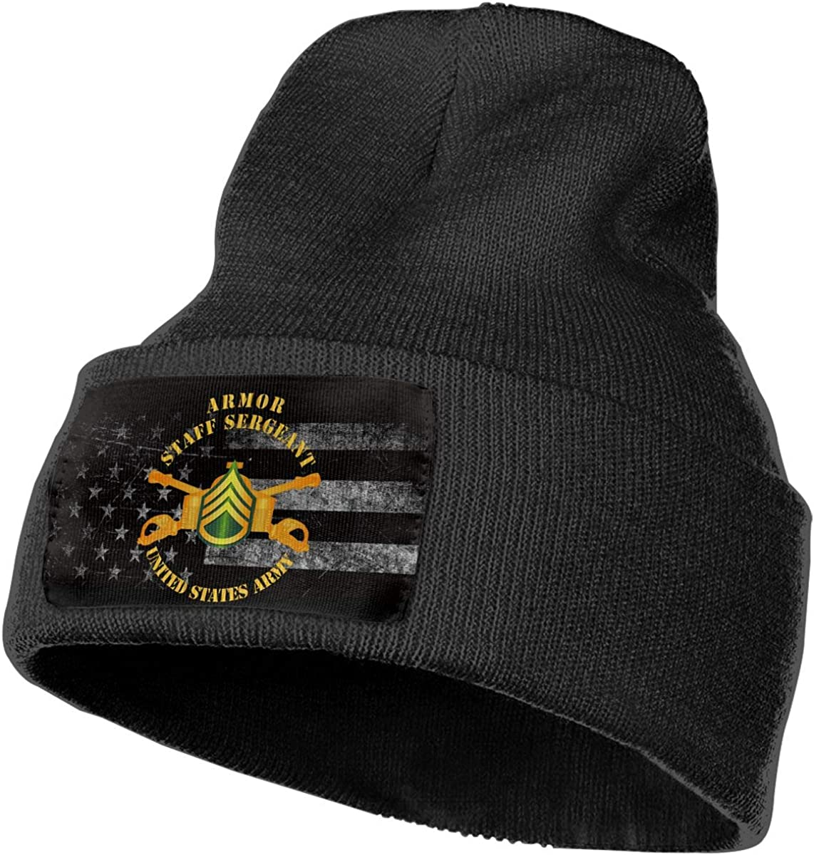 US Army Armor Staff Sergeant Enlisted Mens Beanie Cap Skull Cap Winter Warm Knitting Hats.