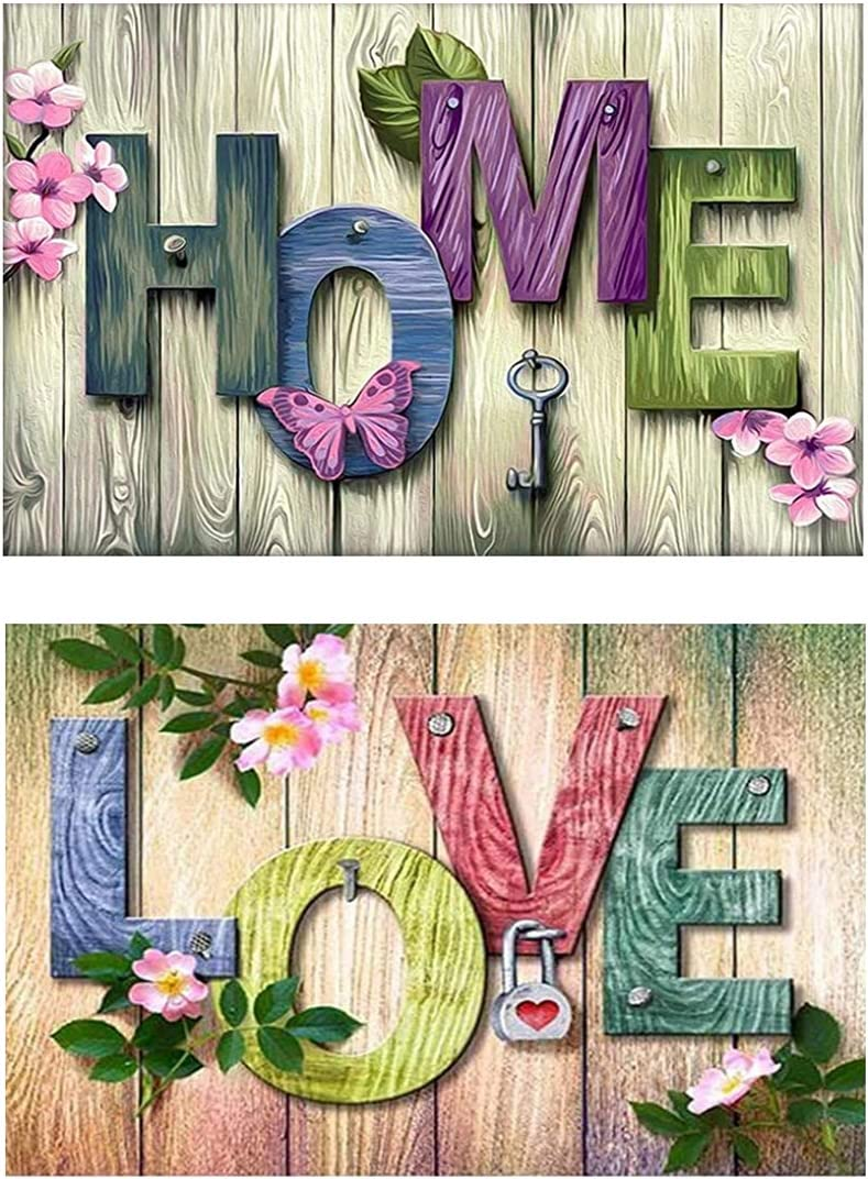 2 Pieces of DIY 5D Diamond Painting Love Home, Crystal Rhinestone Diamond Embroidery Painting, Family Wall Decoration Crafts Pictures (FangyingYM-01 12x16in)