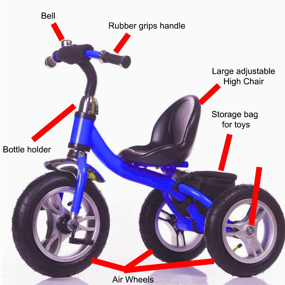 Little Bambino RideOn Pedal Tricycle Children Kids Smart Design 3 Wheeler CE Approved Air Wheels Adjustable Seat Metal Frame Bell