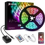LED Strip Lights 16.4Ft,SOLMORE Bluetooth RGB LED Strip Music Sync Color Changing LED Lights Strips 24-Key Remote DIY Color O