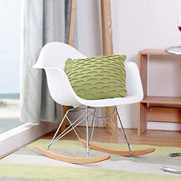 Britoniture Eiffel Retro Rocking Chair Rocker Armchair Lounge Living Room  White