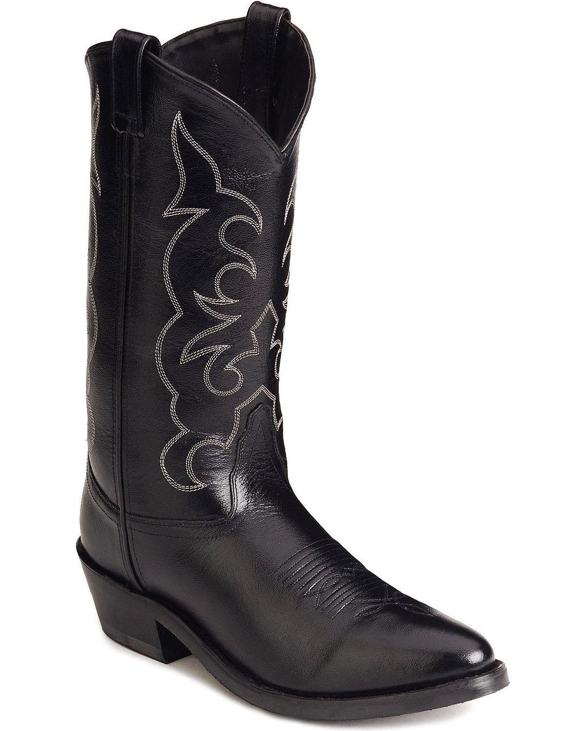 Old West Men's Leather Cowboy Work Boots - Black10 2E US by Old West Boots