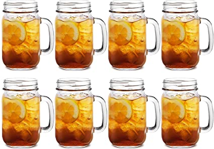 Get Goods 8 Vasos con Mango de Cristal Kilner Bebidas 0,4 litro Vasos preservar
