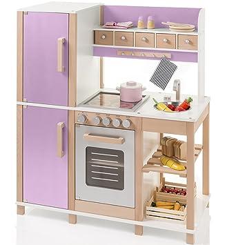 83x95cm Buchen Holz Kinderküche Mit Herd, Kühlschrank, Backofen In Natur  Lila: Spielküche Holzküche