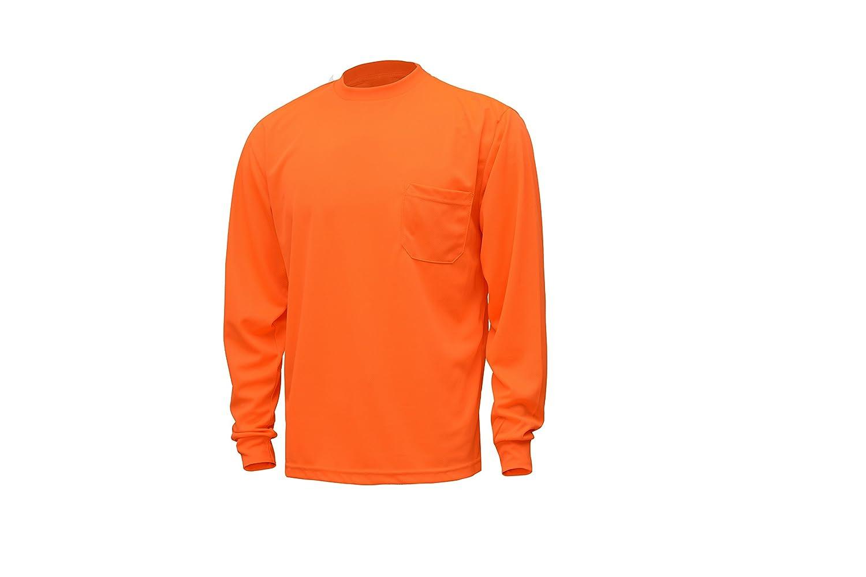 CJ Safety CJHVTS0002 High Vis Long Sleeve Safety Shirt Moisture Wicking Birdseye Mesh Chest Pocket 2XL, Orange