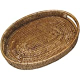 Artifacts Trading Company Rattan Small Oval Tray With Cutout Handles, ...