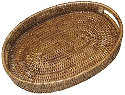 Artifacts Trading Company Rattan Small Oval Tray With Cutout Handles,  10u0026quot; ...