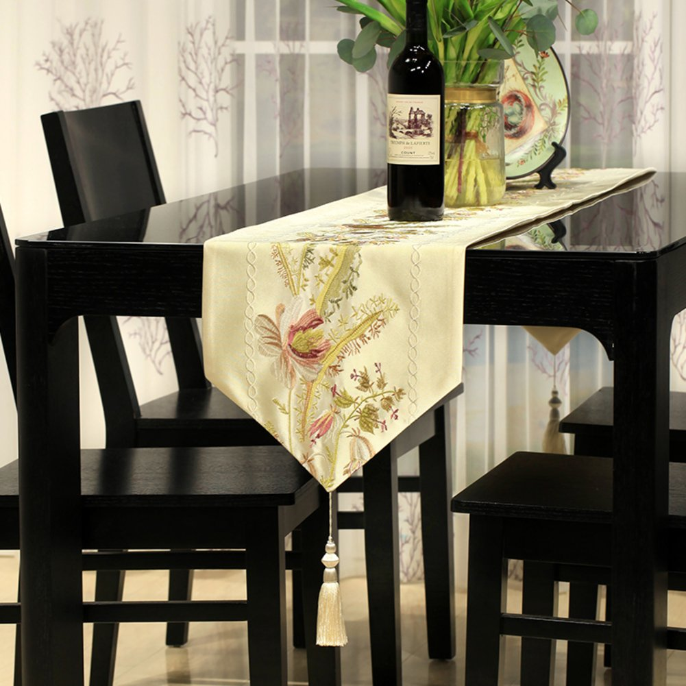 Table runner/european style,embroidered, dining table runner/decoration,nordic coffee table flag/ table runner/ hotel-B 33x220cm(13x87inch)