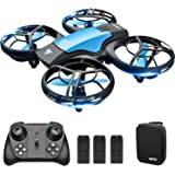 4DRC V8 Mini Drone for Kids Toy, Hand Operated/Remote Control Quadcopter with 3 Batteries, Altitude Hold, Headless Mode, Thro
