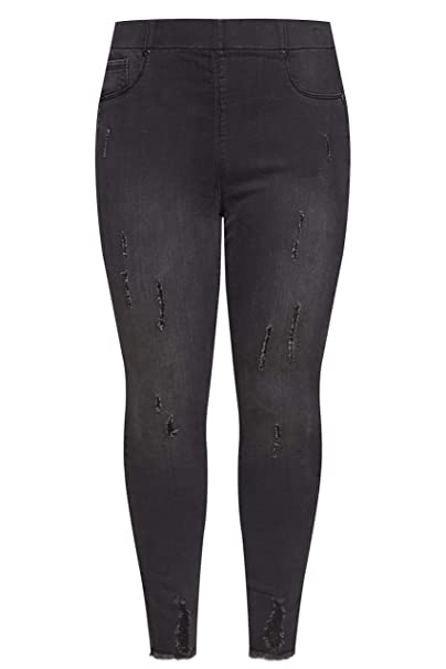 dce15021a1c Yours Clothing Women s Plus Size Distressed Jenny Jeggings  Amazon.co.uk   Clothing