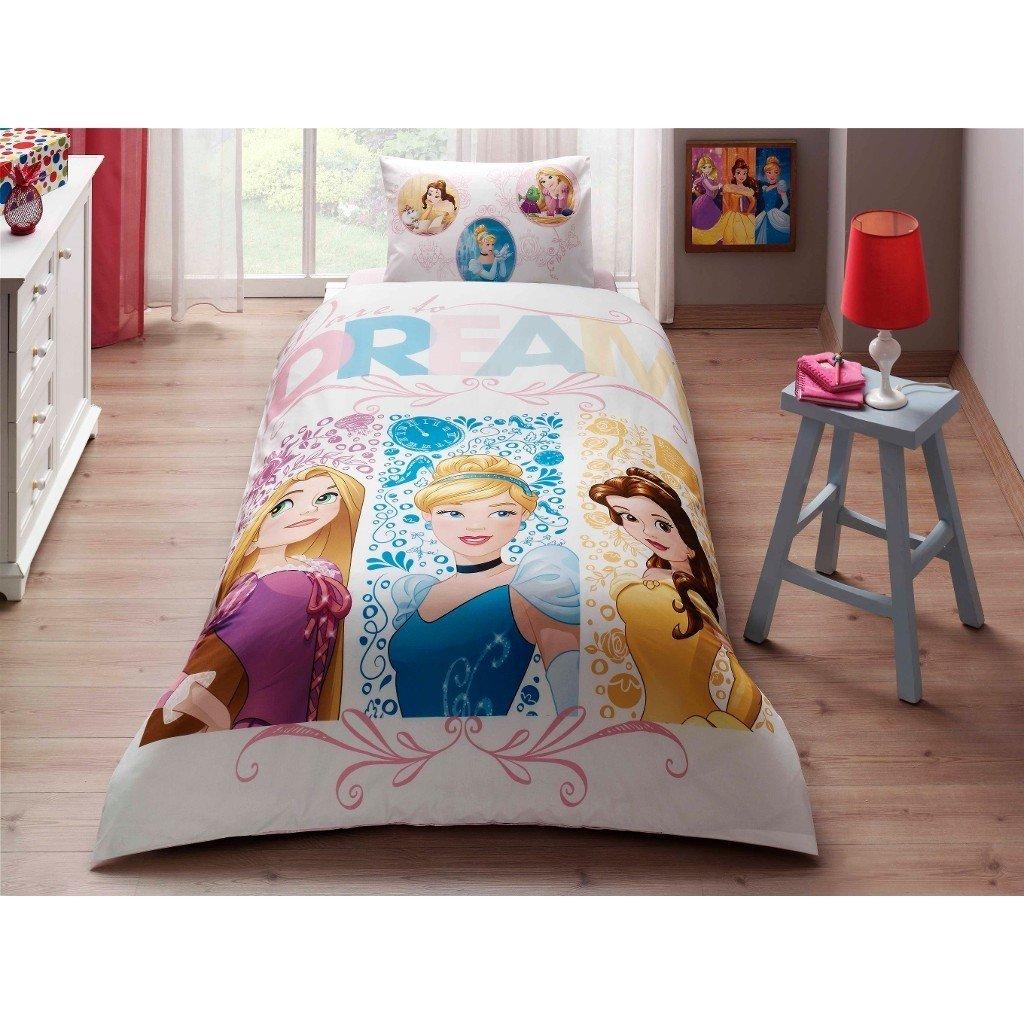 Single Twin Kids Girls Original Disney Princess Dream 100% Cotton Duvet Quilt Comforter Cover Bedding Set 3 Pcs