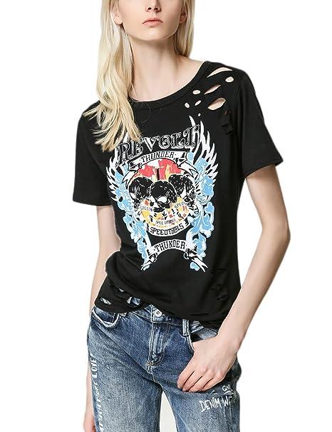 Camisetas Mujer Verano Manga Corta Punk Rock Hippie Hollow Blusas Cuello Redondo Impresión Patrón Tops Camisas
