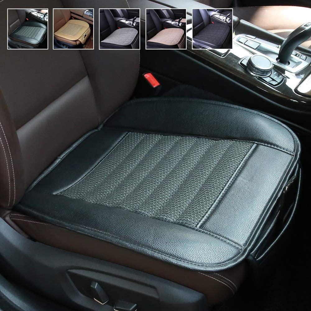 Beige Seat Cover Suninbox Rear Car Seat Cover,Only Back Bottom Seat Covers Pads Cushions for Car,Ice Silk Carbonized Leather Universal Leather Car Seat Protector Anti-Skid Four Seasons General