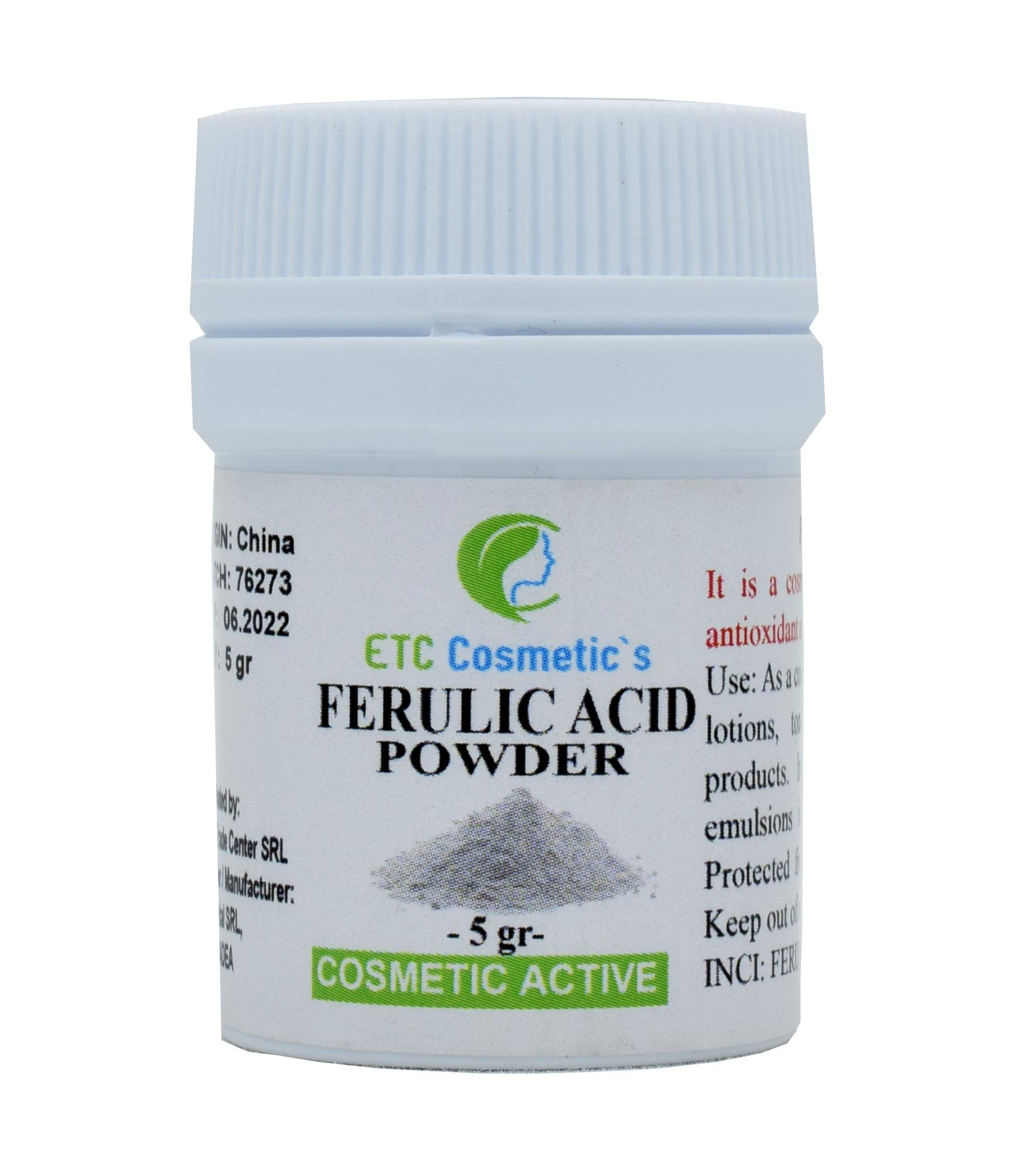 Pure Ferulic Acid Powder - 5 grams - A potent antioxidant and free radical destroyer | Stabilizes Vitamin C and protects cells from environmental damage, For use in creams, serums, lotions