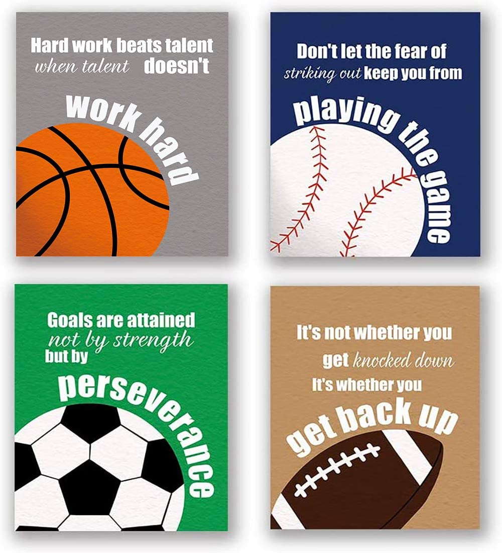 "4 Set- Colorful Sport Inspirational Quote Art Print, Basketball Football Baseball Soccer Sport Themed Canvas Wall Art Printing For Boys Bedroom Decoration (Unframed,8""X10"")"