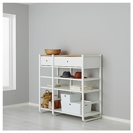 IKEA ELVARLI - 2 secciones Blanco / bambú: Amazon.es: Hogar