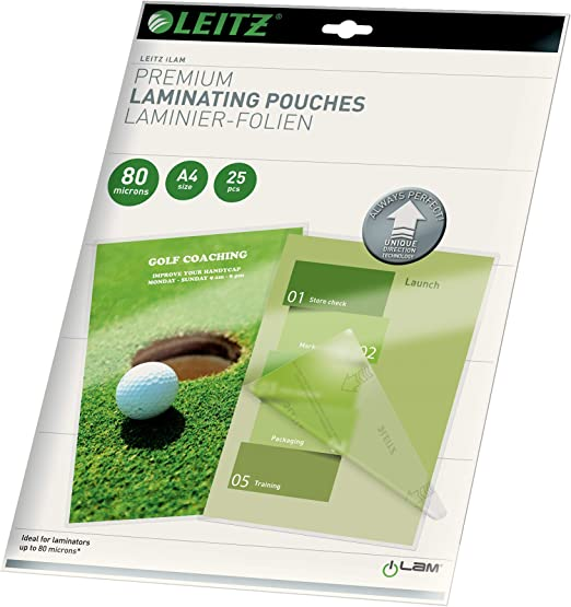 Leitz Laminating Pouches Made of 125 Micron Thick Material Pack of 100 Transparent, Glossy, A3