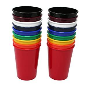 Rolling Sands 12 Ounce Reusable Plastic Kids Cups Assorted (Set of 18, Made in USA, BPA-Free) Dishwasher Safe