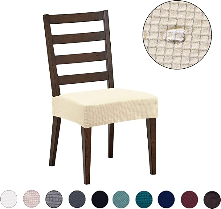 Dining Chair Covers(4 Pack) - Water Repellent,Easy to Install,High Stretch - Dining Room Chair Seat Slipcover/Protector/Shield for Dog Cat Pets,Beige