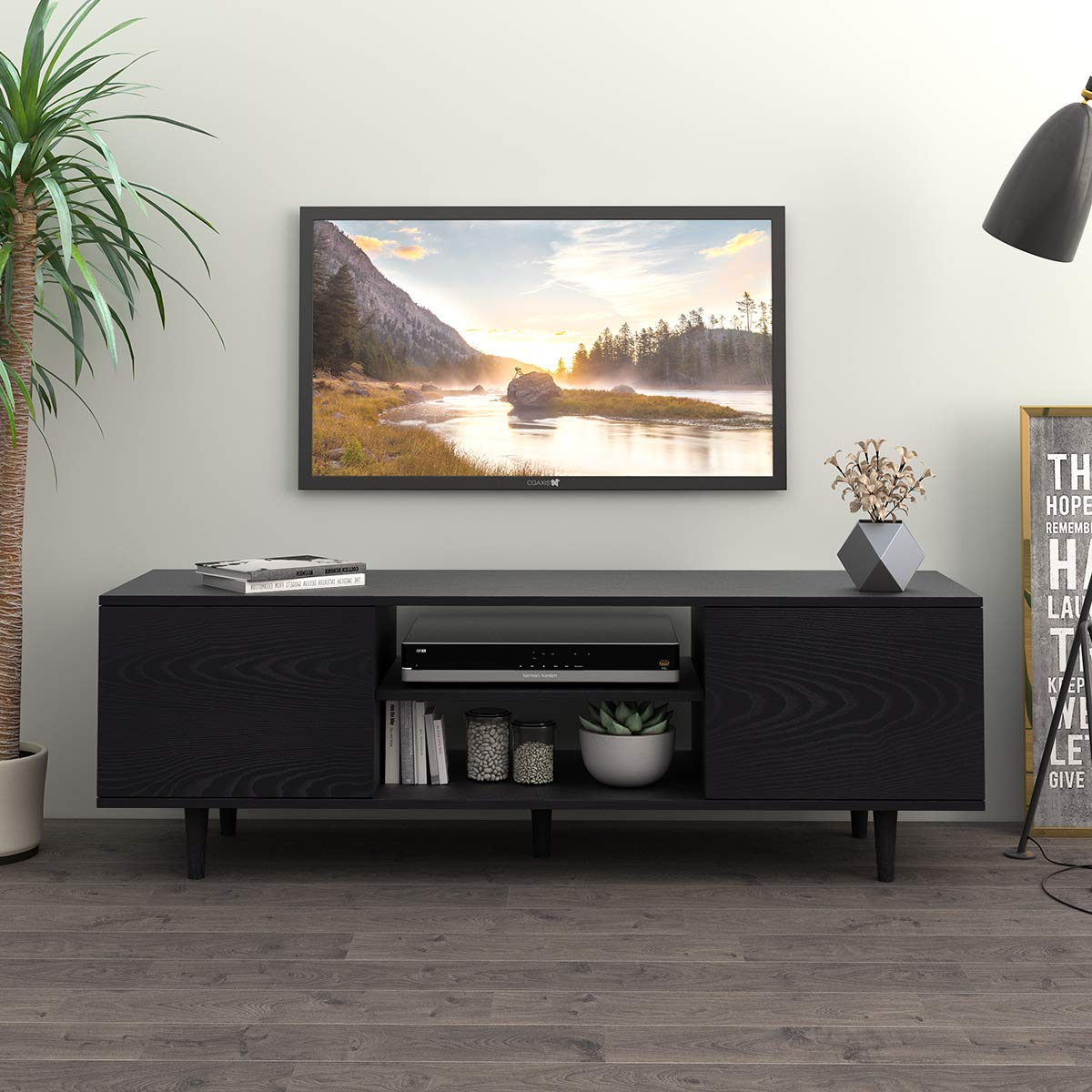 WLIVE Mid-Century Modern TV Stand for 55 TV in Living Room Entertainment Center