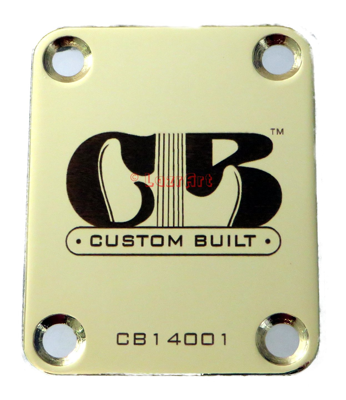 """Custom Built"" Engraved Guitar Neck Plate - Fender Style - Gold LazrArt"
