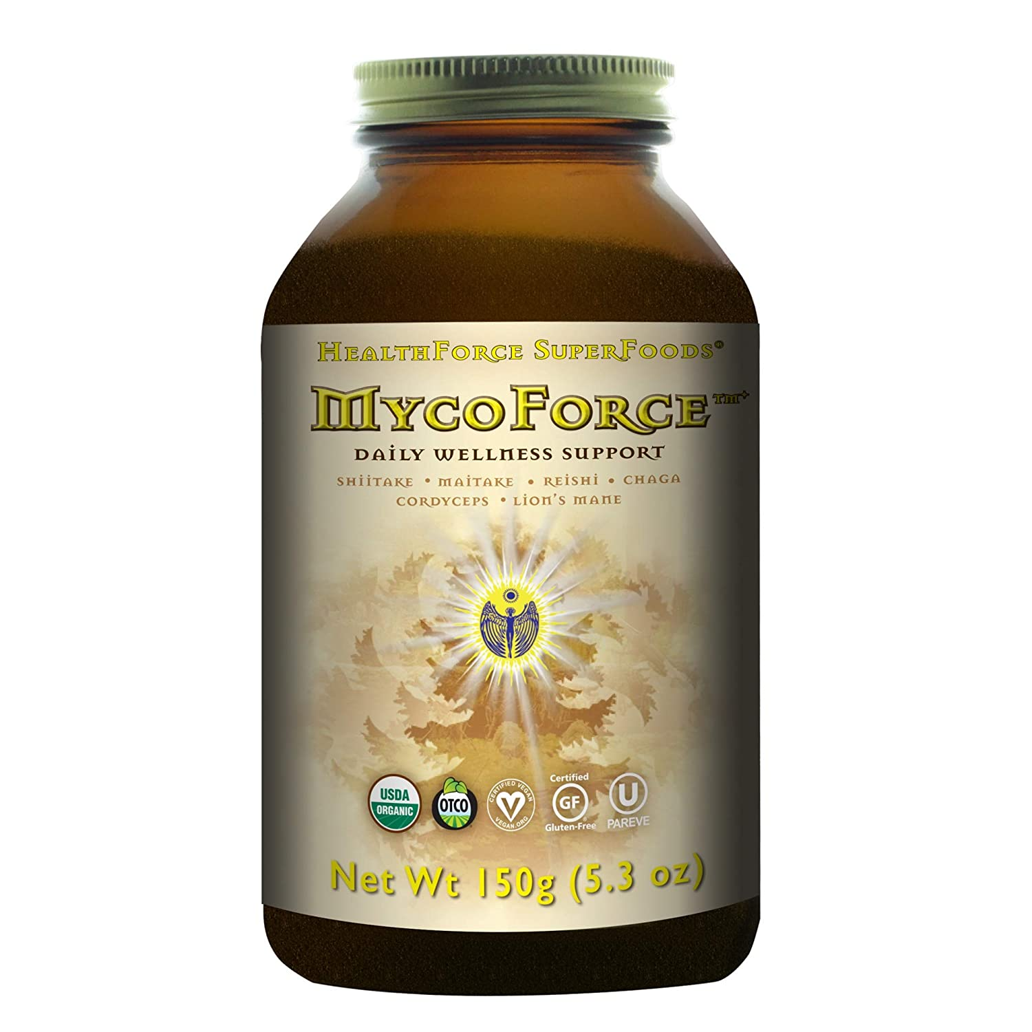 HealthForce SuperFoods MycoForce Powder – 150 Grams – Shiitake, Maitake, Reishi Chaga Mushroom Supplement, Immune Booster – Organic, Vegan, Gluten Free – 100 Servings