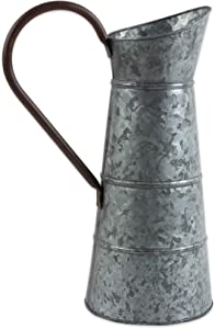 "DII Z02277 Galvanized Metal Farmhouse Rustic Flower Vase Watering Can, 10.25 Wide (Includes Handle) x 16"" Tall, Pitcher"