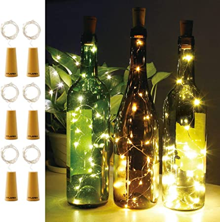 Amazon.com : CYLAPEX Pack of 6 Wine Bottle Lights with Cork, 20 ...