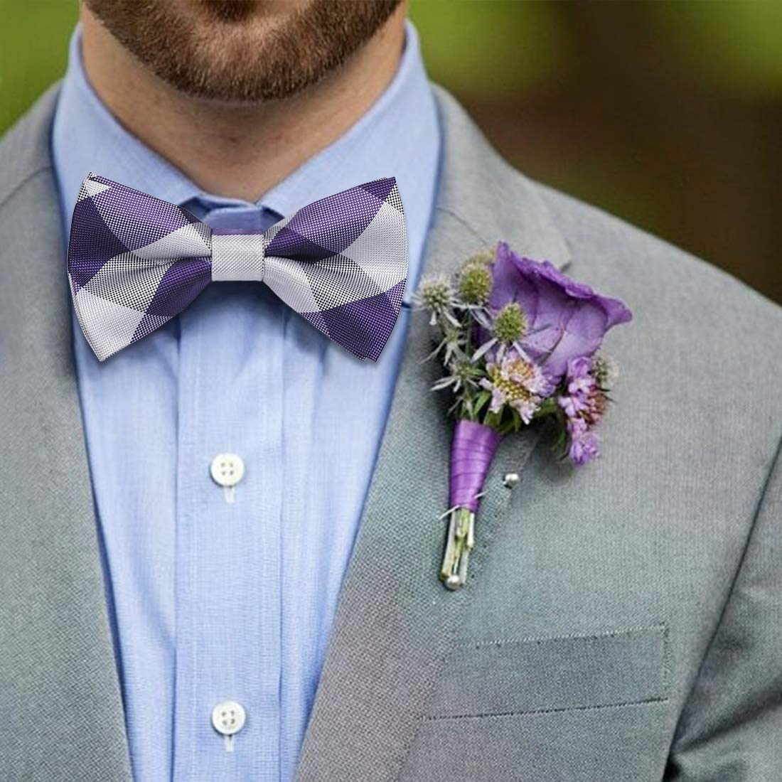 HISDERN Formelle Fliege Classic Check Polka Dot Pre-Tied Hochzeit Parrty einstellbar Bowtie