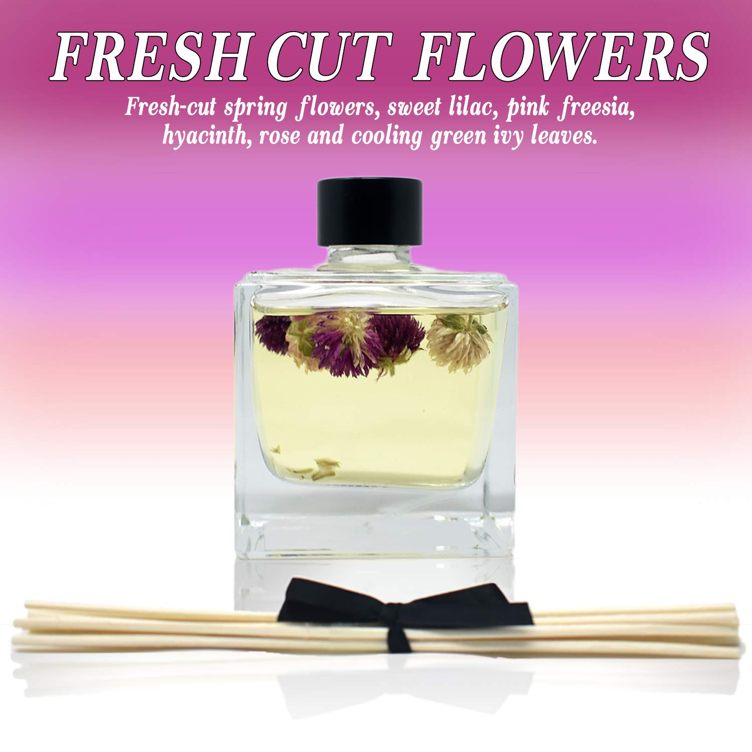 LOVSPA Fresh Cut Flowers Reed Diffuser Oil and Sticks Gift Set | Spring is in The Air! A Floral Medley of Sweet Lilac, Pink Freesia, Hyacinth, Rose & Green Ivy Leaves | Real Flowers in The Bottle! by LOVSPA (Image #3)