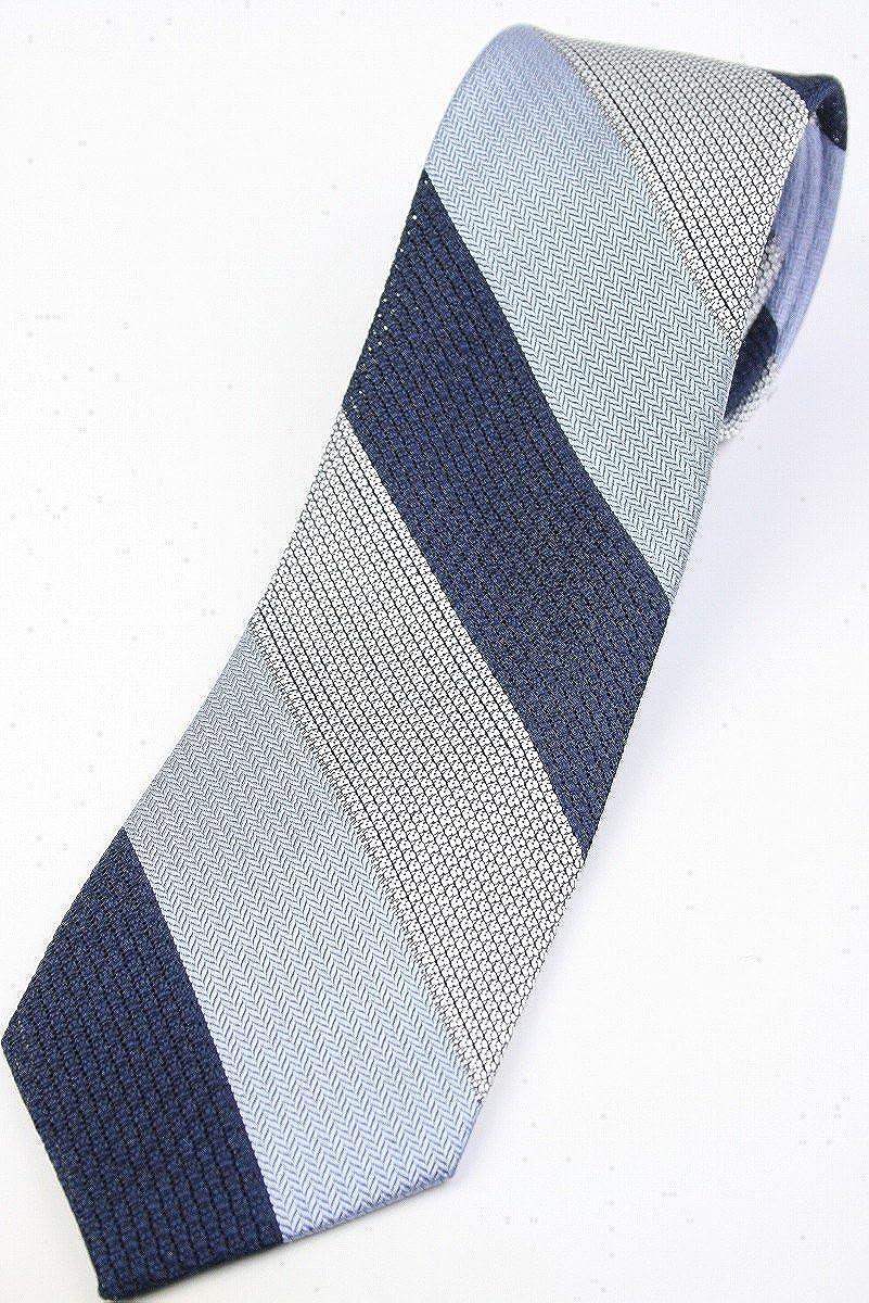 (フェアファクス) FAIRFAX 3色ブロックストライプのフレスコタイ グレー、ブルー、ネイビー系 シルク100% ネクタイ 日本製 st19549   B07BW9MV61