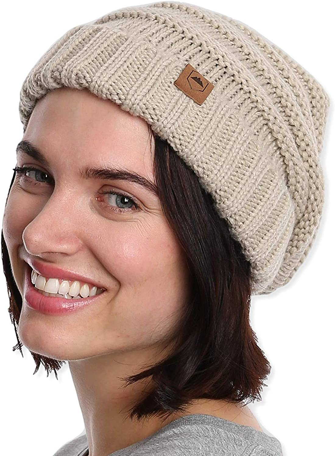 Warm /& Cute Winter Hats for Cold Weather Slouchy Cable Knit Beanie for Women