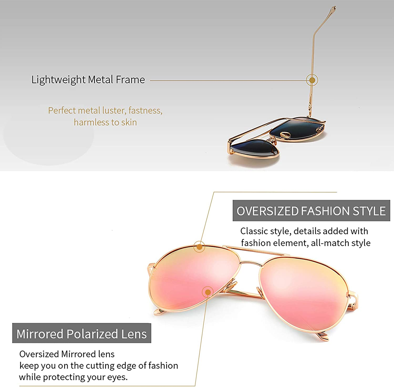 SUNGAIT Womens Lightweight Oversized Fashion Sunglasses Mirrored Polarized Lens