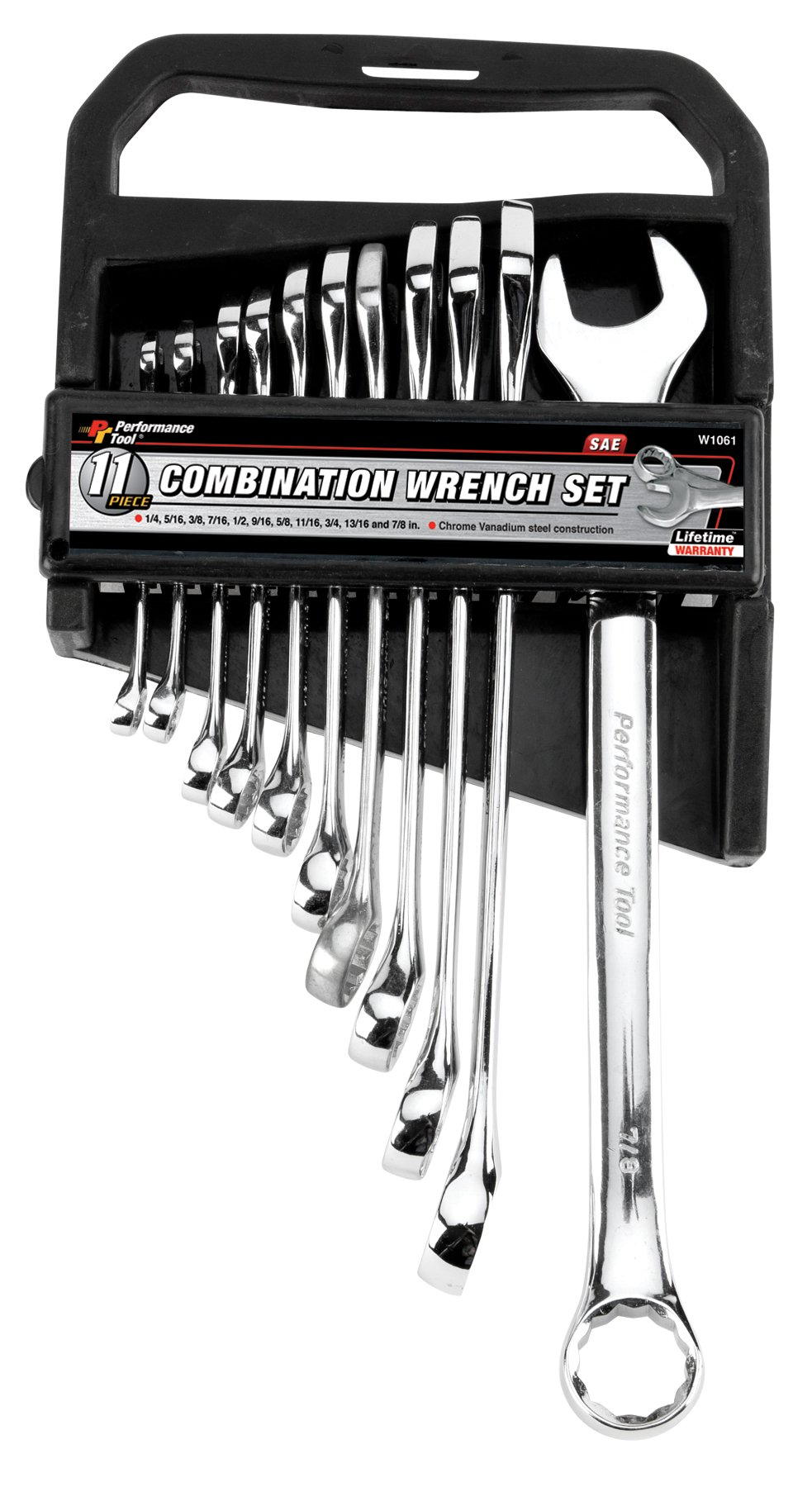 Performance Tool W1061 11 Piece SAE Fully Polished Combination Wrench Set with Rack