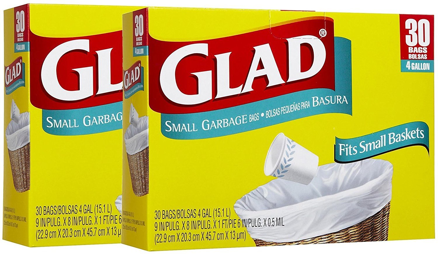 4 gallons 30 ct Glad Garbage Small 2pk 10012587001506B2 White