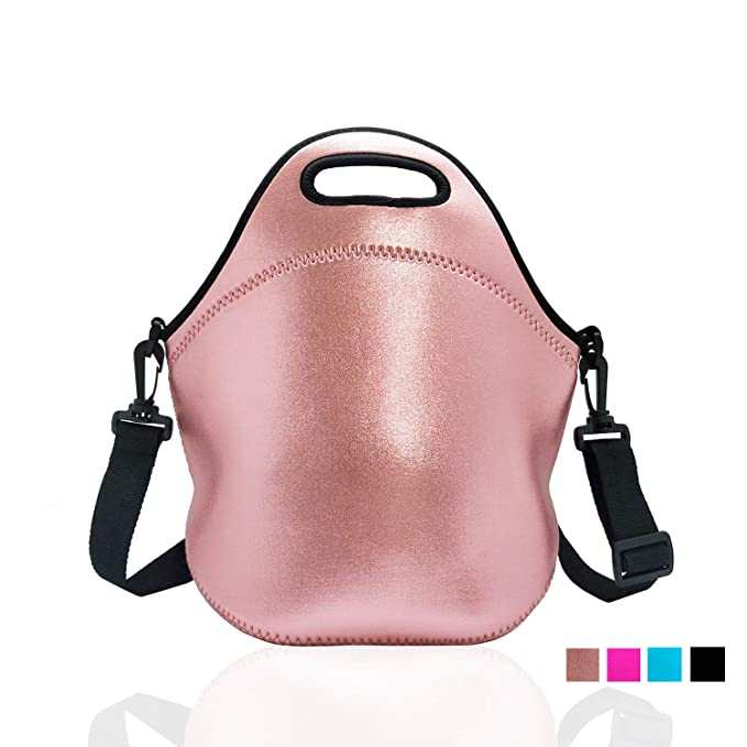 Neoprene Insulated Lunch bag, Lunch tote Boxes Bags for Kids Women Men Kids Children Work Office School Picnic Travel (Rose Gold)