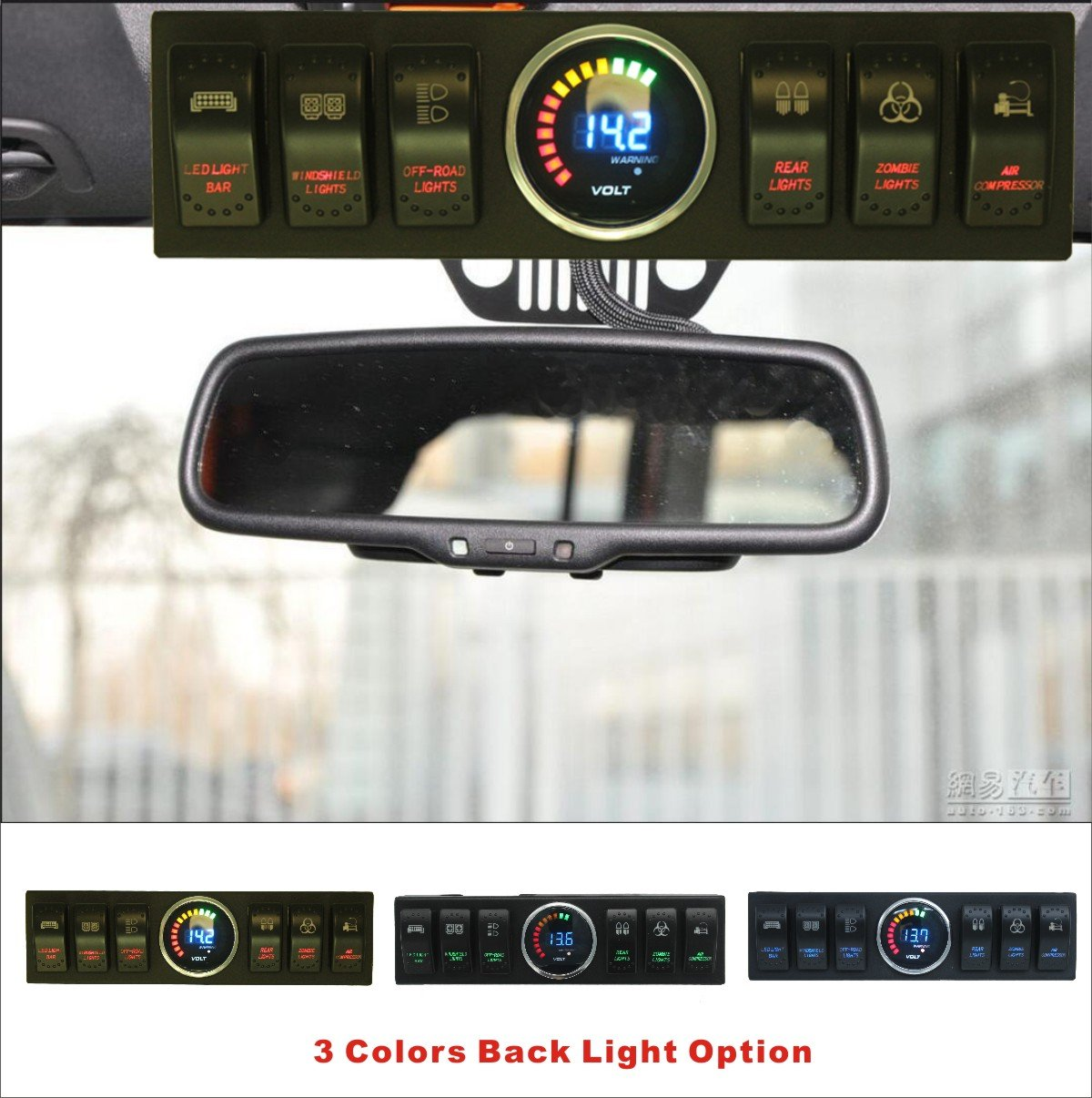 Apollointech Jeep Wrangler JK & JKU 2009-2017 Overhead 6-Switch Pod / Panel with Control and Source System Blue Back Light( Comes with 10 Laser Switch Covers )