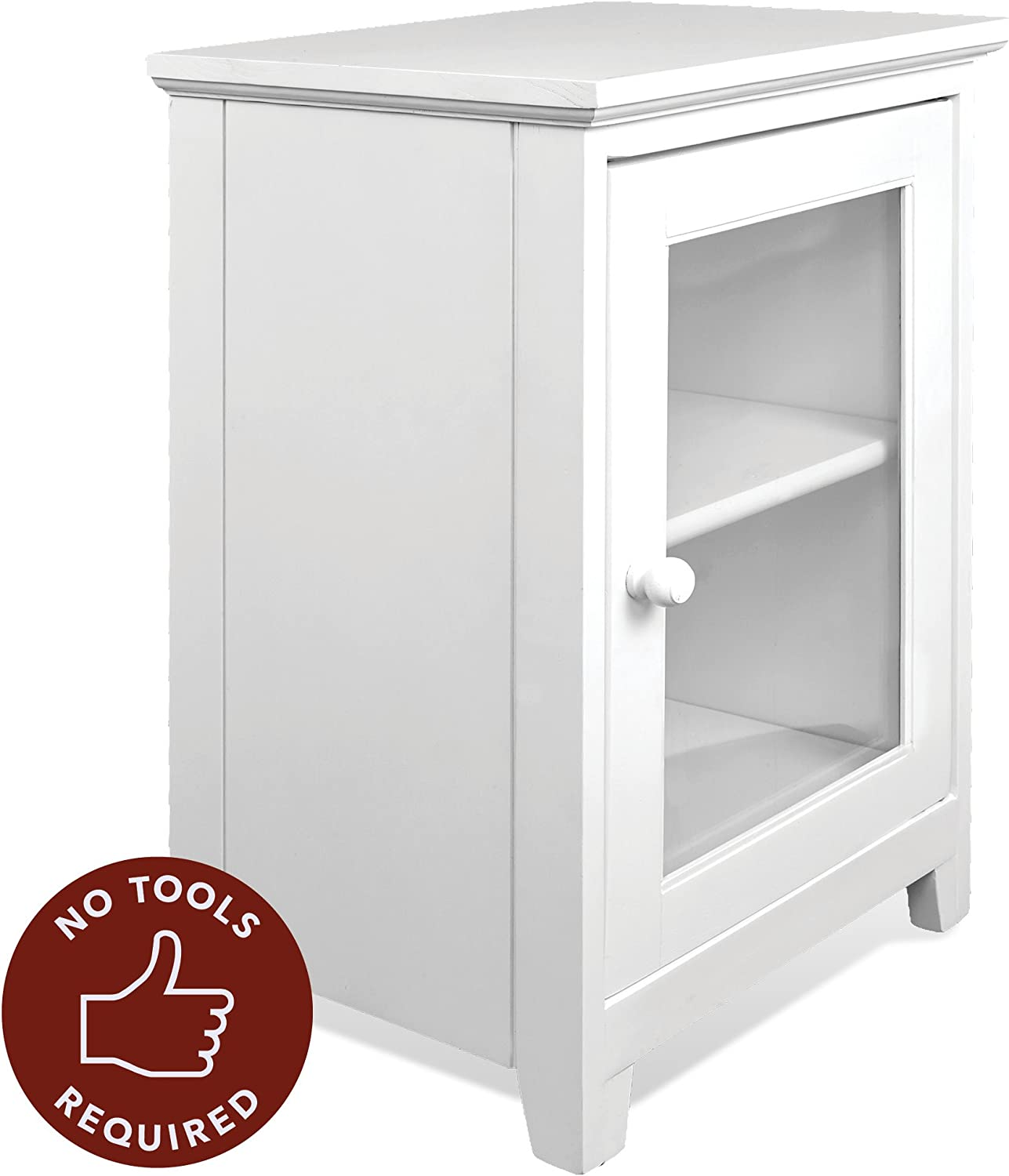 Stony-Edge White Night Stand Easiest Assembly, No Tools Required – Premium Two Shelf Wooden Bedside Table or End Table with Glass Door – Heavy Duty Elegant Accent Furniture
