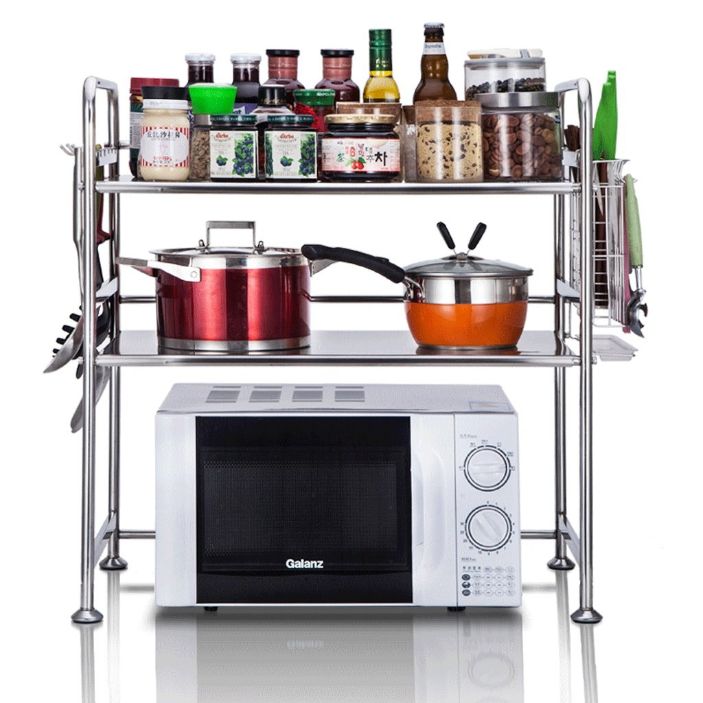 DGF Stainless Steel Microwave Oven Rack,Kitchen Wall Shelf L58cm W37cm H69cm